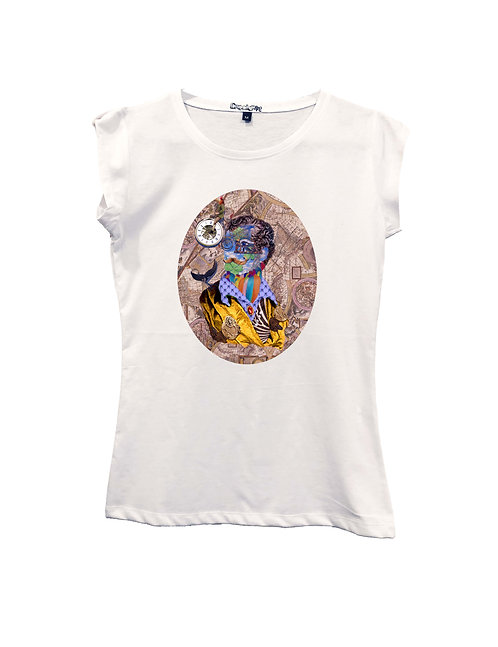 """RUOTA LA GIRA with MAP background"" on Short sleeve t-shirt  - High quality cott"