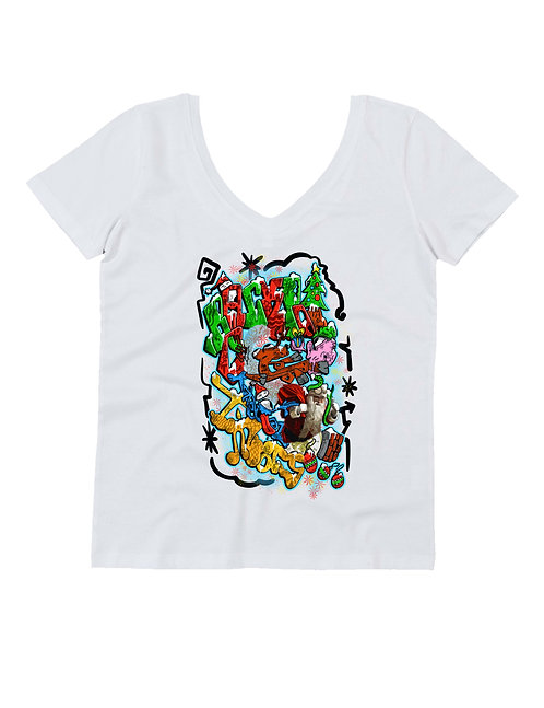CrackPot X-mas special - WOMAN V NECK T-SHIRT 100% ORGANIC COTTON