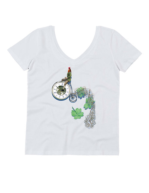 """""""BIKE ROOSTER"""" on woman V neck t-shirt"""