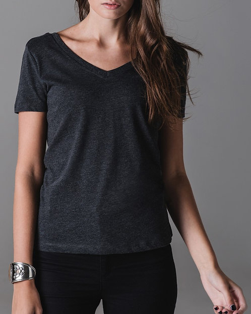 Woman - V NECK T-SHIRT - Grey / Black / White