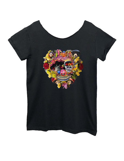 """CALAVERA"" on Wide neck t-shirt - High quality cotton"
