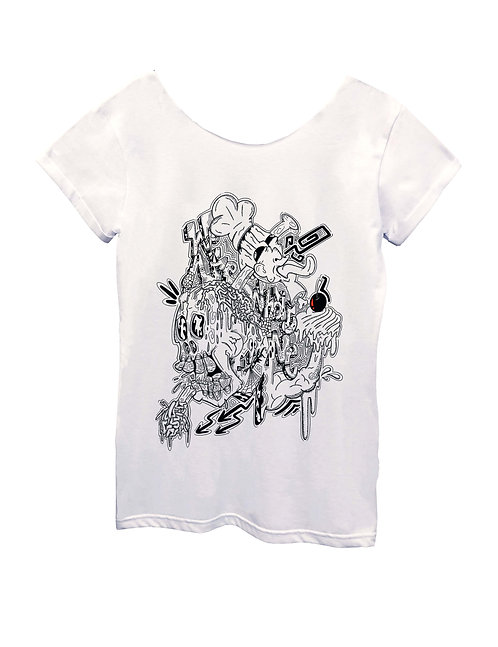 """WE ARE WHAT WE EAT"""" on Wide neck t-shirt - High quality cotton"""