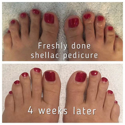 Shellac pedicure before and after 4 weeks! Polish still looks great