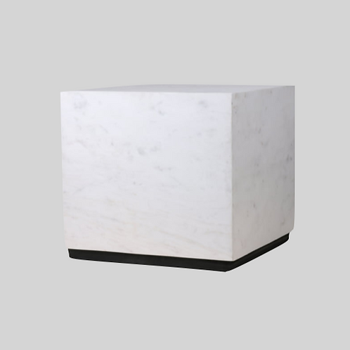 white marble block table L