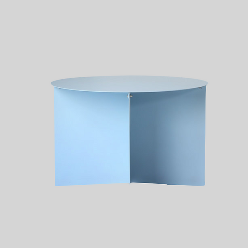 Metal side table round - blue