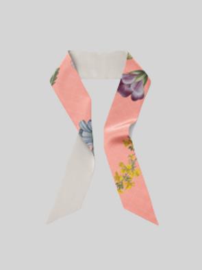 Coral flora - skinny scarf
