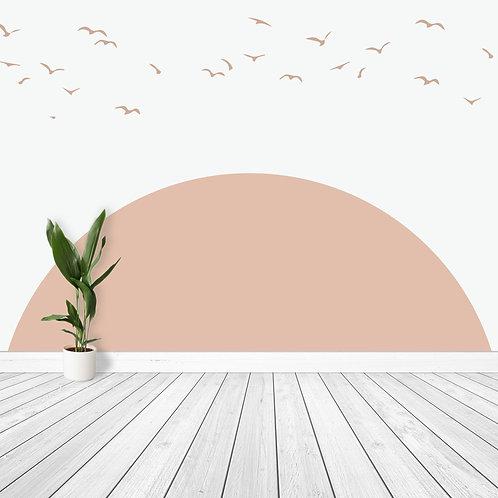 Oversized Sun with Playful Birds