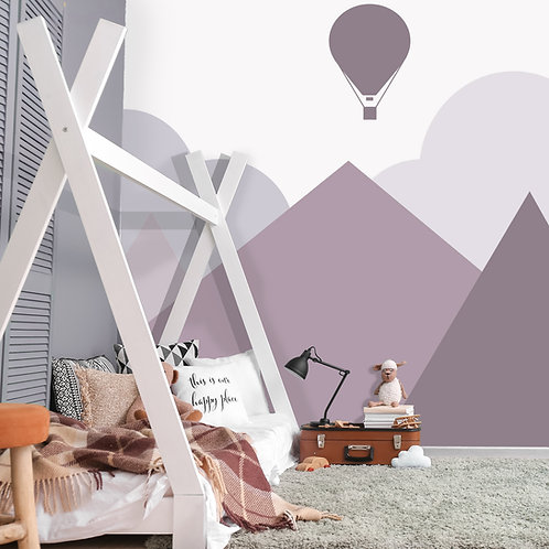 Soft Purple Mountain with Air Balloon