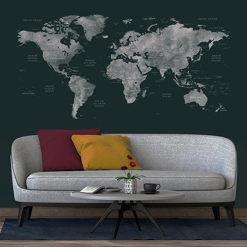 Dark Green with Grey World Map