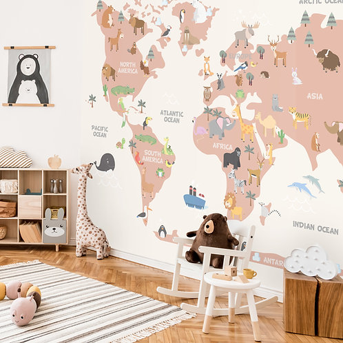 Kids Pastel World Map with Animals