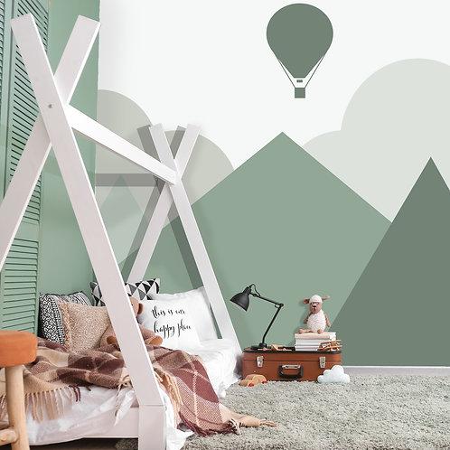 Green Mountain with Air Balloon