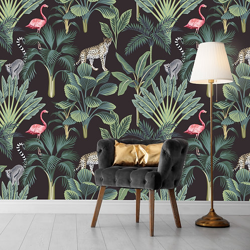 Dark Jungle with Flamingo
