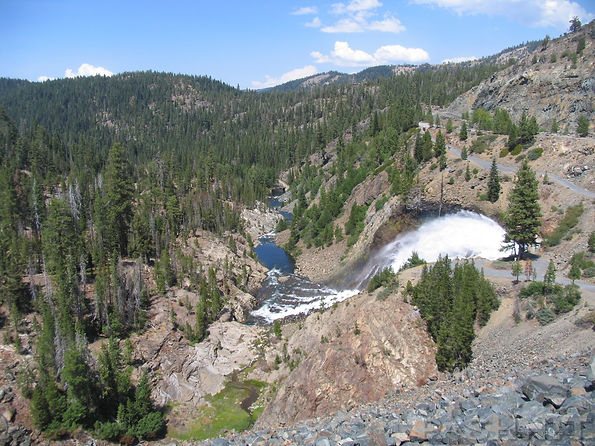 Spring release of water from Jackson Meadows Reservoir on Henness Pass