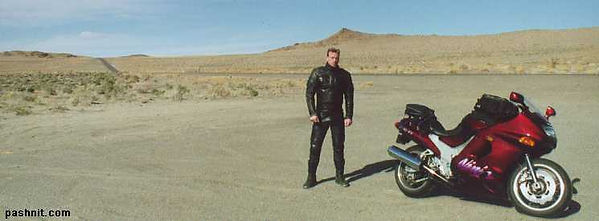 Author of Pashnit in the Nevada desert on a Kawasaki ZX11D