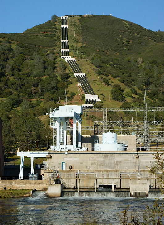 Four penstocks from Hetch Hetchy Reservoir feed into Moccasin Powerhouse