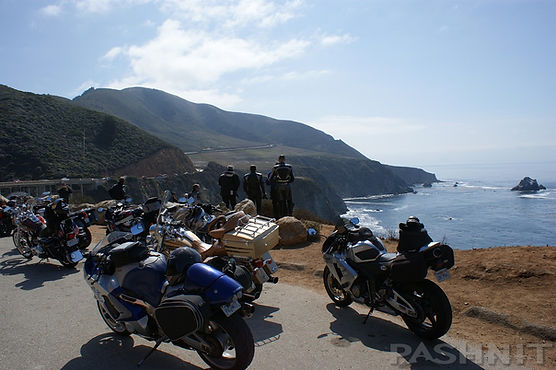 Pashnit Motorcycle Tour Group on Highway 1 California Big Sur Coastline