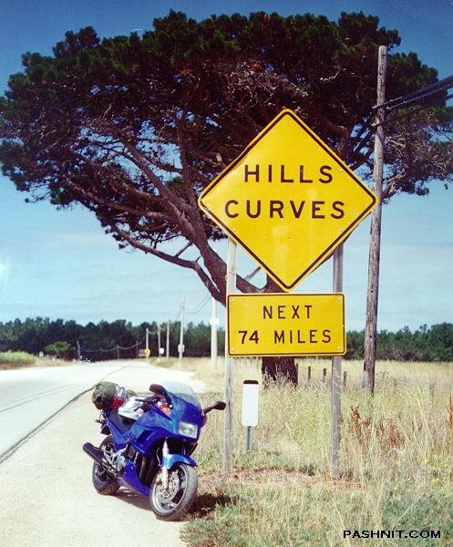 Hills Curves Next 74 Miles Highway 1 Big Sur