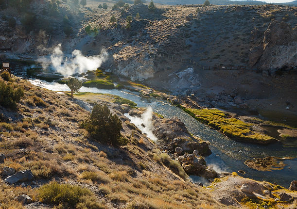 Steam from geothermal springs rise out of Hot Creek, near Mammoth Lakes, California by TheDailyNathan