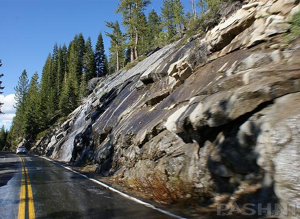 Snow melt along Highway 120 Tioga Pass