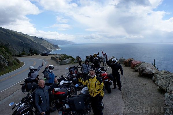 Pashnit Motorcycle Tour group on Highway 1 Big Sur Coast | Pashnit