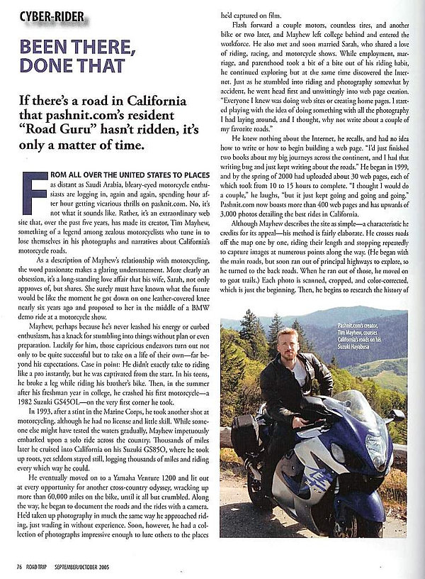 Tim Mayhew in Road Trip Magazine