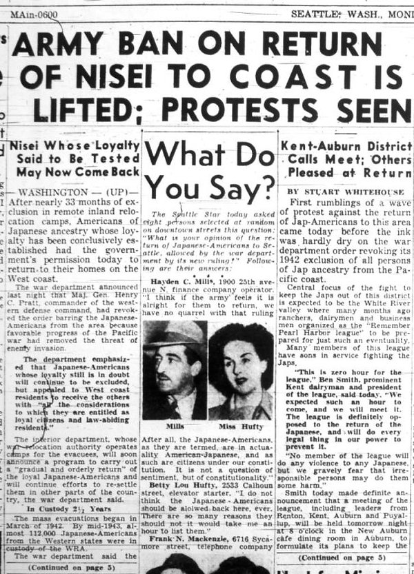 Seattle Star 12-18-44 Ban Japanese