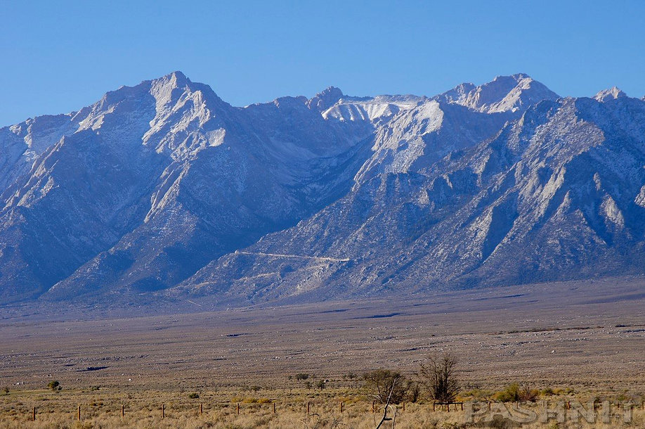 View of Sierra Nevada Range from Manzanar War Internment Camp