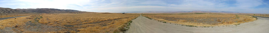 Panorama of graded streets of California City, no town was ever built