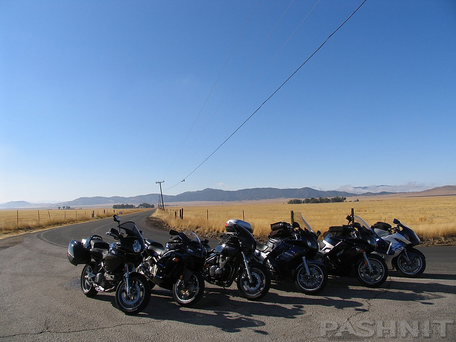 Pashnit Tour group at the 90 degree corner in California Valley