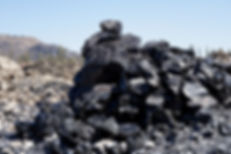 Obsidian boulders at Glass Mountain