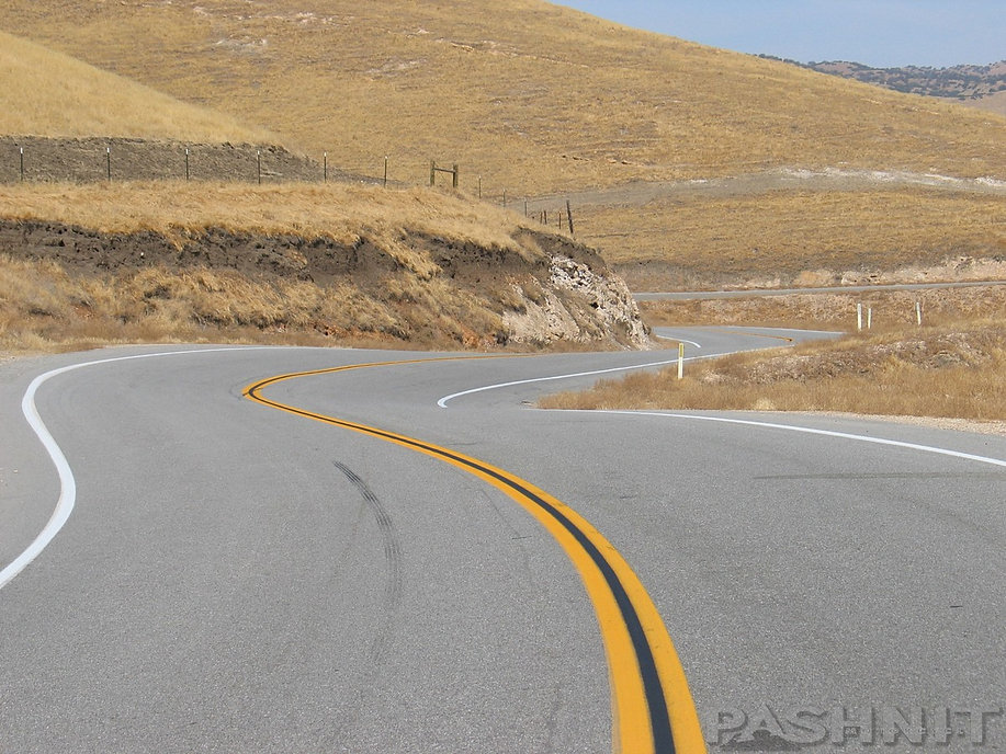 Highway 58 curves over the Temblor Range