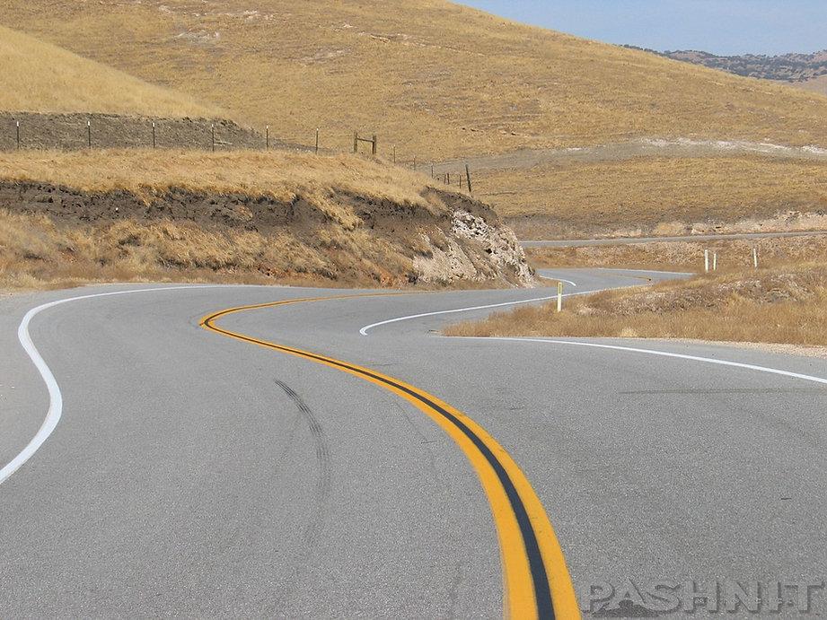 Highway 58 curves over the Temblor Range