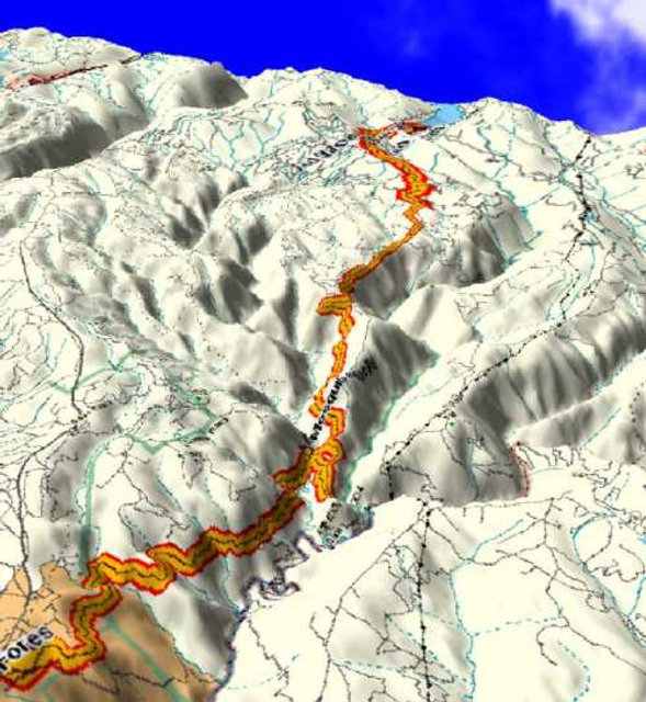 3-D Terrain mapping of Mosquito Ridge Road