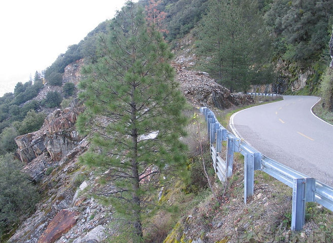 Steep drop-offs on Mosquito Ridge Road, near Foresthill, California