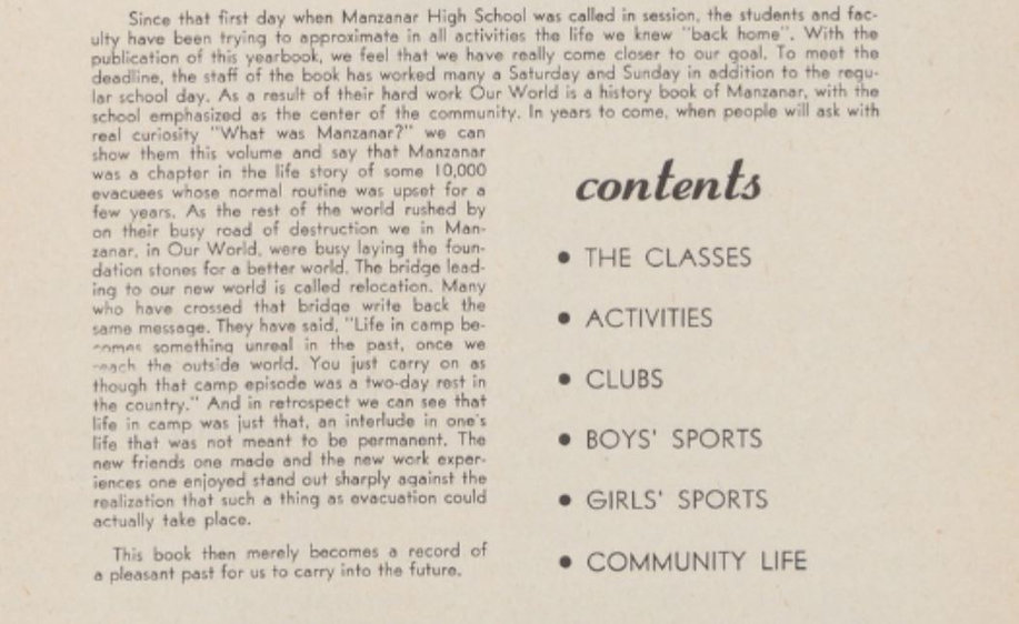 Excerpt from Manzanar 1945 Yearbook