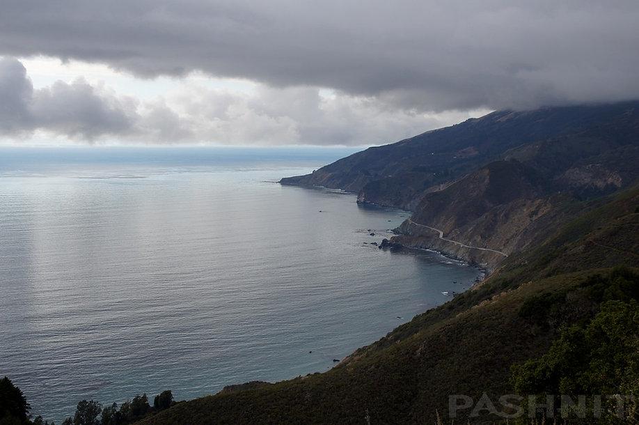 California Highway Big Sur Coastline viewed from Nacimiento Rd