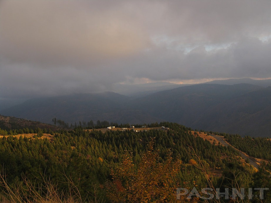 Ice House Rd: View of approaching storm from Peavine Ridge