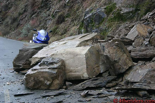 Rockslide onto Mosquito Ridge Road, near Foresthill, California