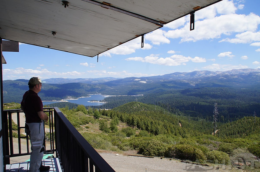 Northeast view of Union Valley Reservoir and Crystal Basin from Big Hill Lookout