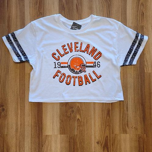 Ladies Crop Old School Cleveland Football T shirt