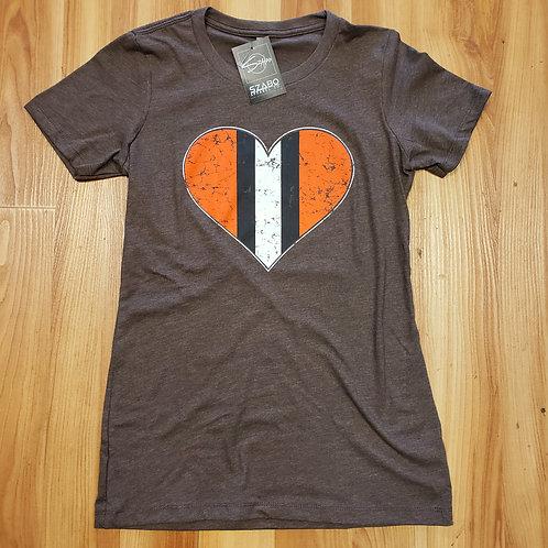 Ladies Orange Heart Tee