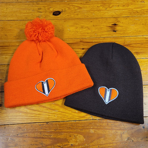 Orange and Brown Heart Beanie