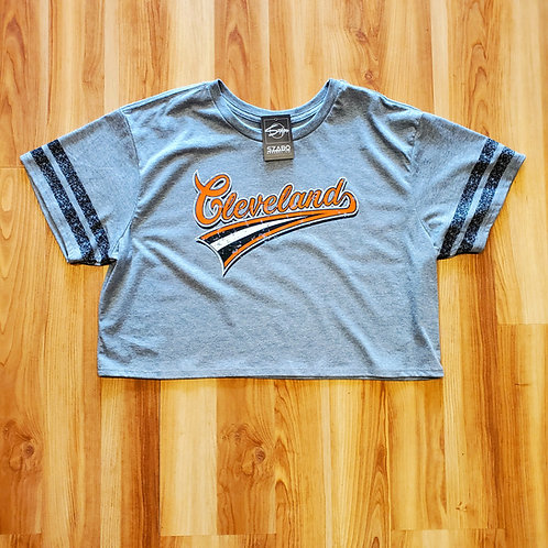 Ladies Script Cleveland Crop Tee