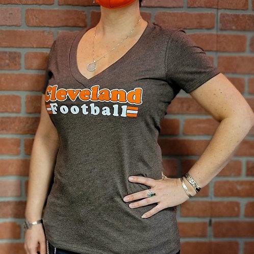Ladies Cleveland Football Deep V T shirt