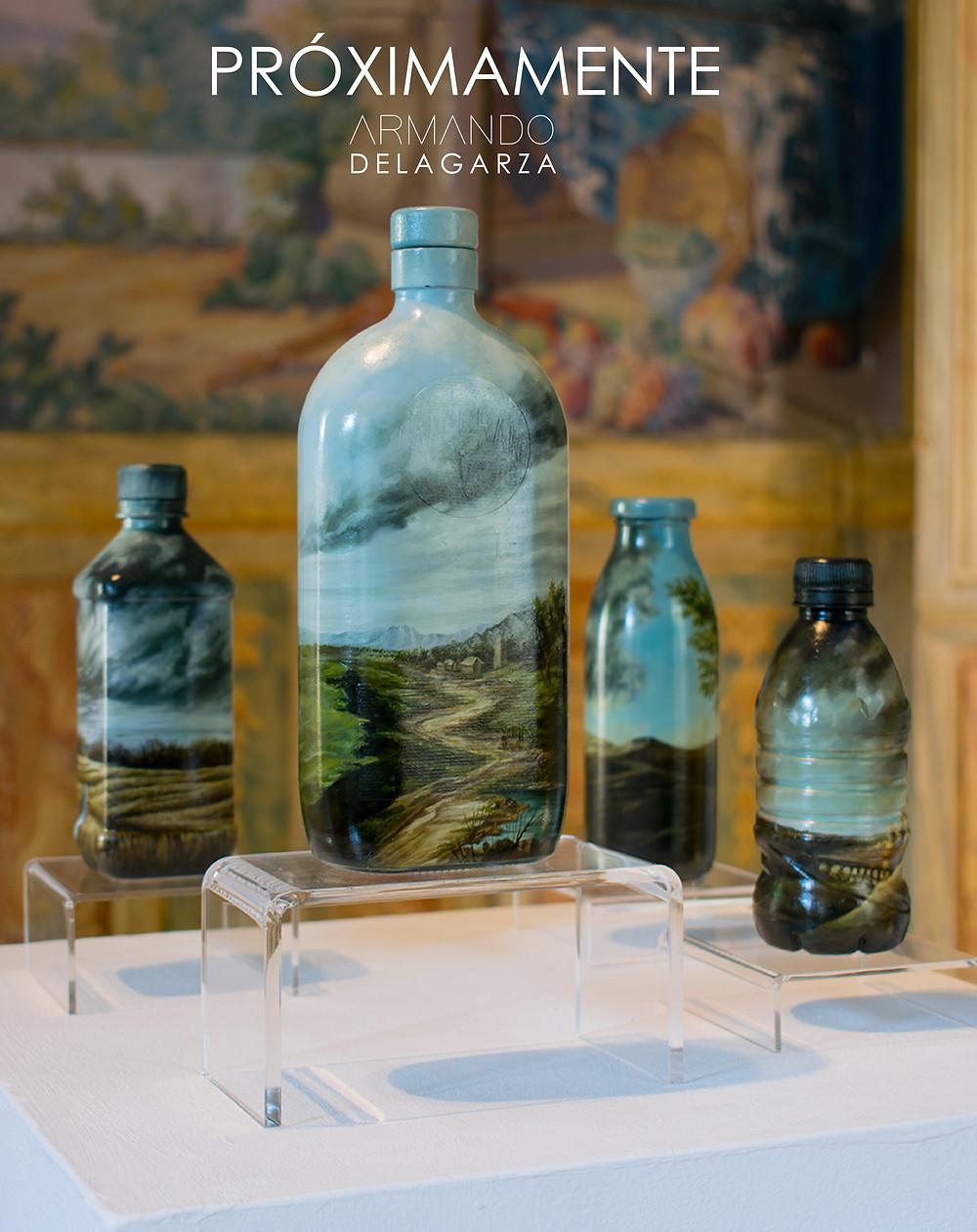 Armando de la Garza dará a conocer próximamente su nueva serie titulada Biotá, obra realizada en Italia y que utiliza como sustrato botellas y varios materiales de desecho con paisajes italianos bellamente realizados en oleo por el artista mexicano.