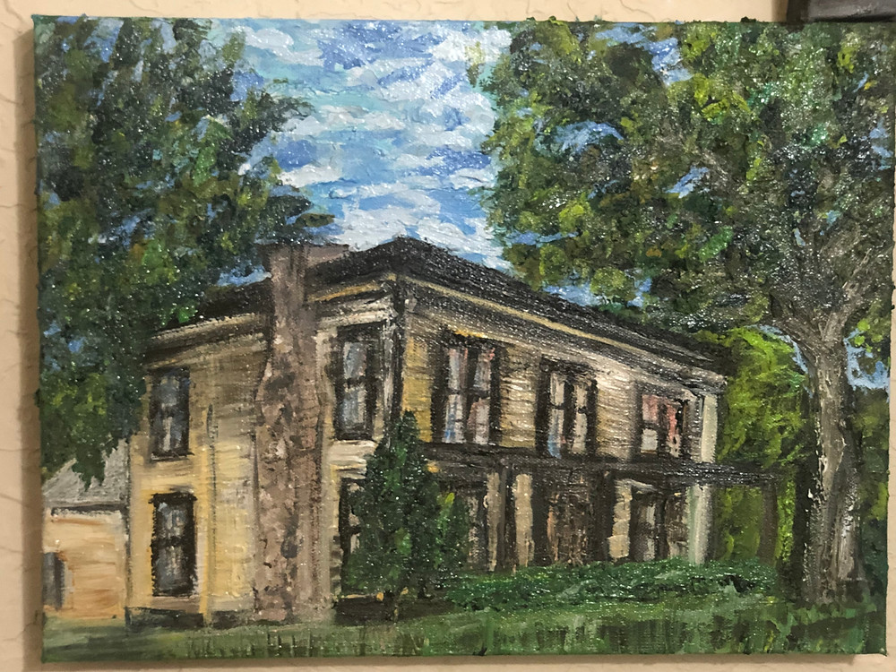 Oil Painting of historical Texas home in Brenham that stands as its oldest residential home