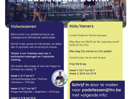 zomer Padel- (en tennis)stages