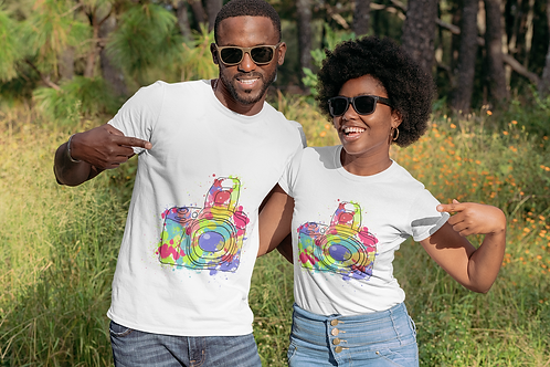 Colourful Camera T-shirt For Photography Lovers