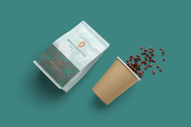 Flat bottom pouch for coffee bean packaging