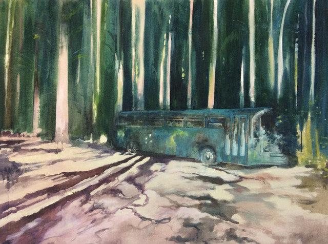 Le bus * 130 x 100 cm * Gouache sur toile * 2018